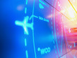 canvas print picture - Simulation screen showing various flights for transportation and passengers.