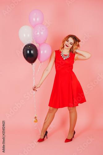 Fototapeta girl with ballons obraz na płótnie