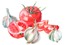 Watercolor Red Tomato And Garlic, Onion, A Composition Of Vegetables. On White Isolated Background. A Piece Of Red Tomato,half, Slice, Whole, Garlic. Watercolor Card, Label, Napkin.