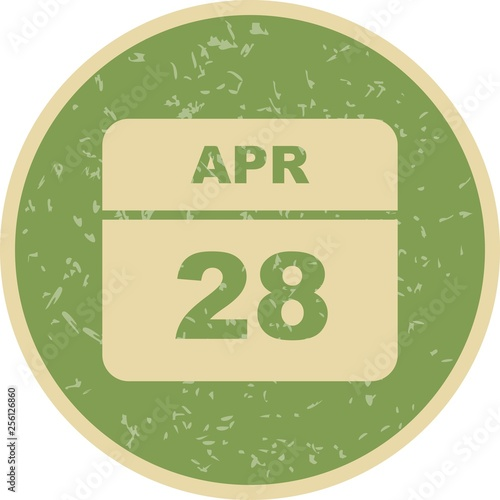 Fotografia  April 28th Date on a Single Day Calendar