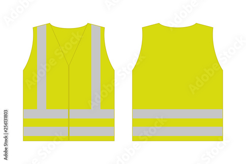Carta da parati Yellow reflective safety vest for people,front and back view uniform template,