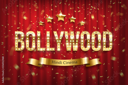 Bollywood indian cinema vector banner with text Canvas Print