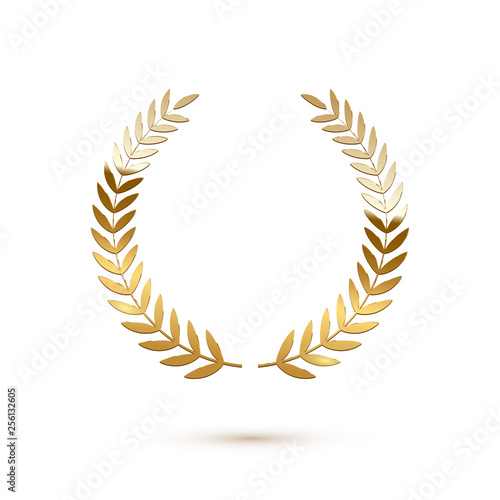 Fotografia, Obraz  Golden shiny laurel wreath isolated on white background
