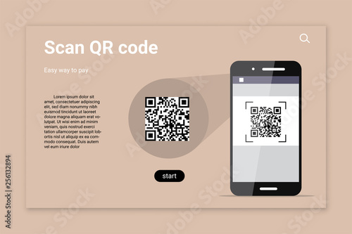 Valokuva  QR code scan color vector landing page template