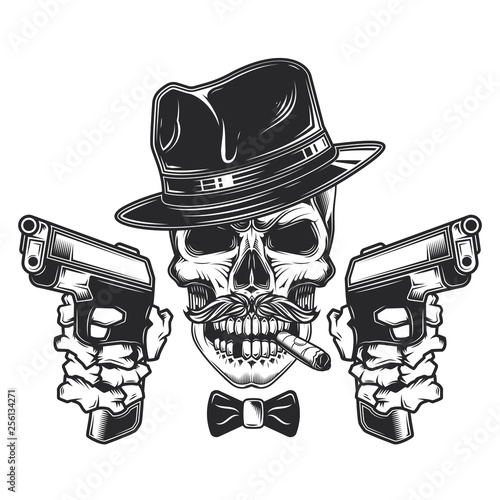 b742dd307317a Original vector illustration in retro style. Skull-gangster with mustache