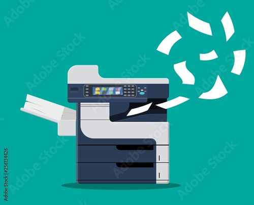 Fototapeta Professional office copier, multifunction printer printing paper documents. Printer and copier machine for office work. Vector illustration in flat style obraz