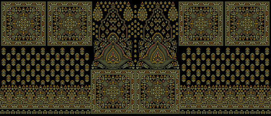 Seamless traditional indian dark textile design border