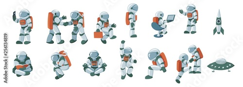 Carta da parati Cartoon spaceman, cosmonaut, spacesuit vector set isolated on white background