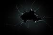 Leinwandbild Motiv broken cracked glass with big hole over black background