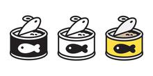 Cat Food Vector Icon Fish Tuna Salmon Logo Kitten Calico Character Cartoon Illustration Doodle