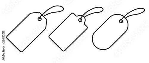 Fototapeta Price tag label icons set. Vector sale gift blank pricetag outline isolated on white background obraz