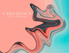 Abstract Pink Coral Grunge Pattina Effect Pastel Gold Retro Texture. Trendy Chic Background Made In Vector For Your Design. Liquid Splash