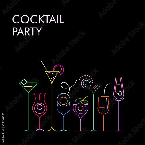 Cocktails neon colors vector background