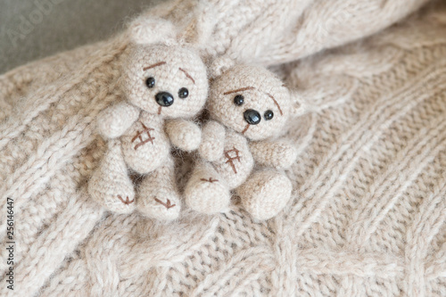 Photographie  A knitted beige bunny and bear are lying on the plaid handmade of the same color