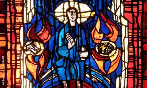 Türaufkleber Phantasie Stained glass window in the parish church of St. Stephen in Wasseralfingen, Germany