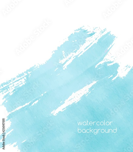 Photo Vibrant watercolor background or backdrop with paint trace, expressive brush strokes, stain, blot or smear of azure or turquoise blue color