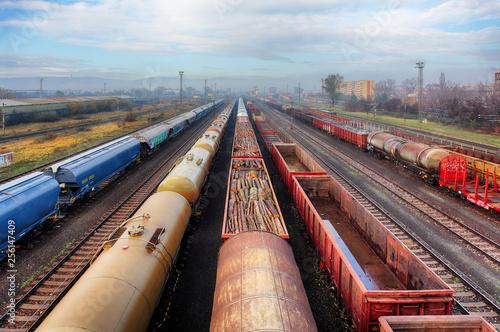 Railway station freight trains, Cargo transport Canvas-taulu