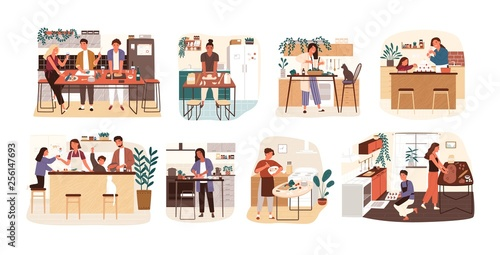 Fototapeta Collection of people cooking in kitchen, serving table, dining together, eating food. Set of smiling men, women and children preparing homemade meals for dinner. Flat cartoon vector illustration. obraz