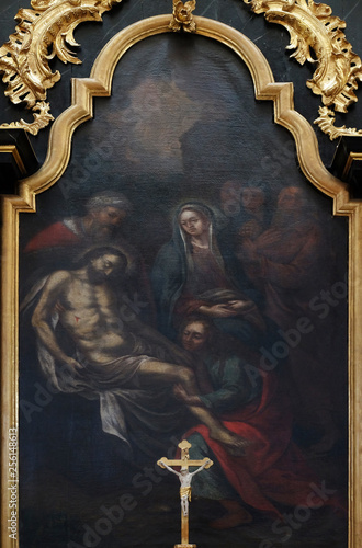 Fotografie, Obraz  Deposition Christ from the Cross, altarpiece in the Church of Saint Bartholomew