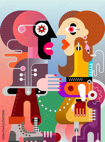 Poster Abstractie Art A Man and A Beautiful Woman vector illustration
