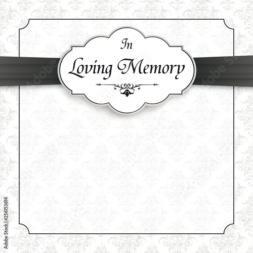 Obraz na płótnie Classic Ornaments Obituary Frame Emblem Ribbon In Memory