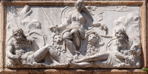 Relief representing Venice as Justice from the Loggetta by Jacopo Sansovino, und Canvas Print