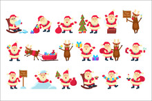 Set With Funny Santa Claus In Different Poses. Merry Christmas And Happy New Year. Reindeer, Bag With Gifts, Children S Letters, Tree, Snow. Flat Vector For Greeting Card