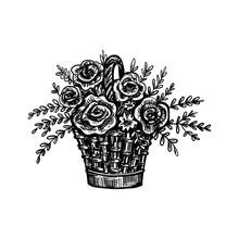 Wicker Basket With Rose Flower...