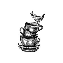 Hand Drawn Vector Ink Sketch Cup With Bird Isolated On White Background, Decorative Vintage Silhouette Dishware For Design Retro Packaging Tea, Coffee, Restaurant Menu, Greeting Card For Tea Party
