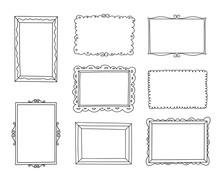 Hand Drawn Frames Set. Cartoon...
