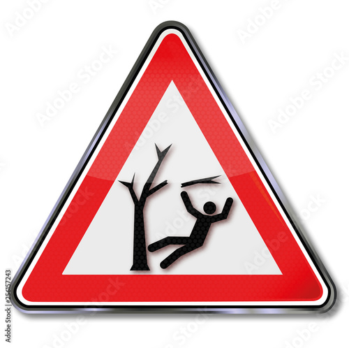 Cuadros en Lienzo Achtung Sturmschaden im Wald und Verletzungen durch herunterfallende Äste