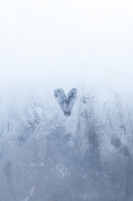 A Drawn Heart On The Foggy Window