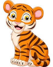Cartoon Smiling Baby Tiger Sit...