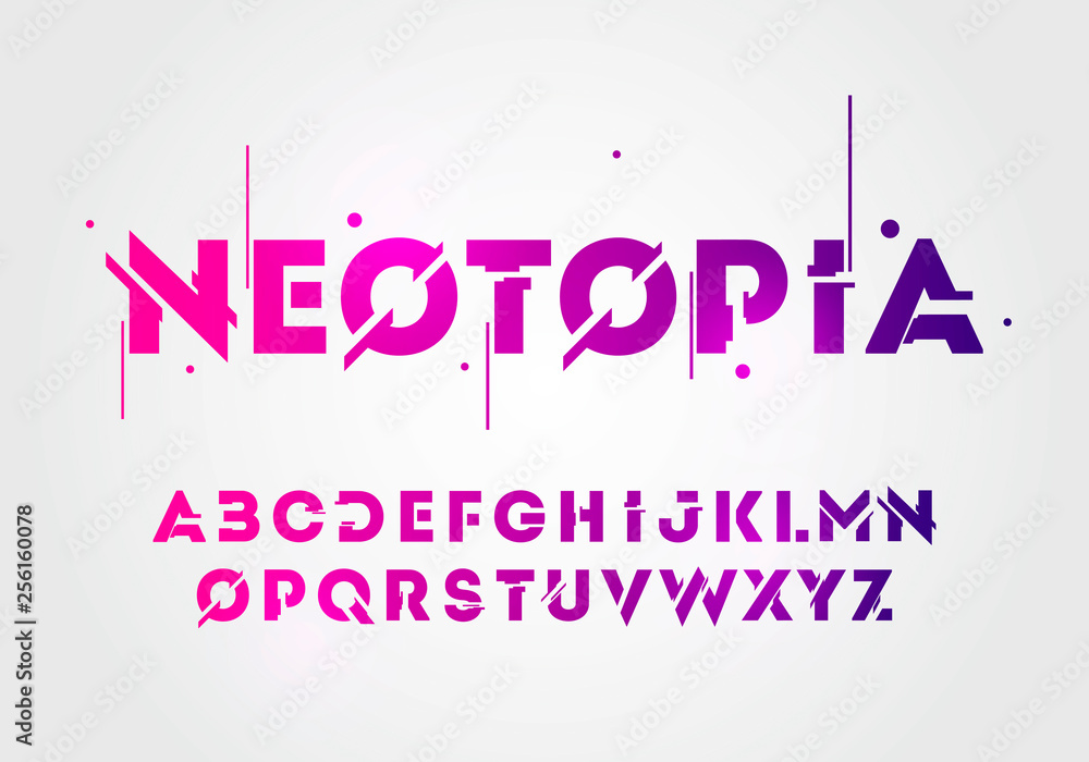 Fototapeta Vector illustration abstract technology neon font and alphabet. techno effect logo designs. Typography digital space concept.