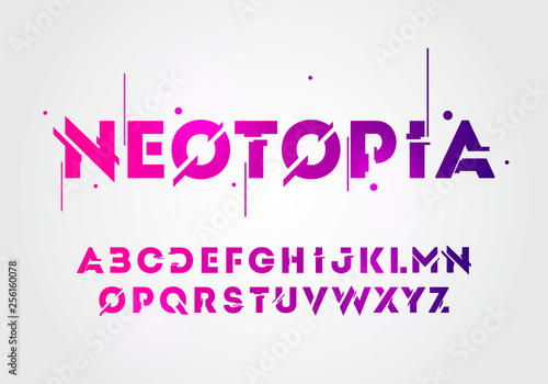 Fototapeta Vector illustration abstract technology neon font and alphabet. techno effect logo designs. Typography digital space concept.  obraz