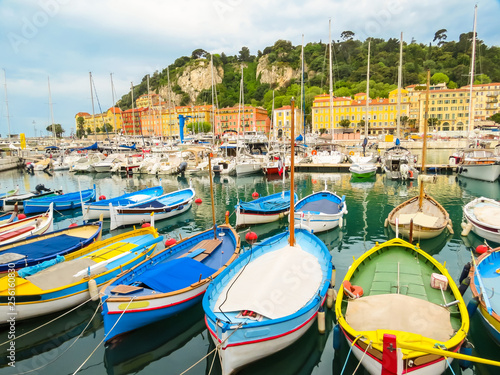 Photo Stands Nice Historic port area of Nice. Fishing boats in the Port of Nice, France