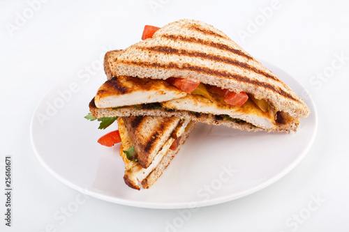 Fototapeta Halved grilled chicken curry indian sandwich obraz