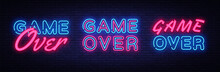 Game Over Neon Signs Set Design Template. Big Collection Game Over Neon Text, Light Banner Design Element Colorful Modern Design Trend, Night Bright Advertising, Bright Sign. Vector Illustration
