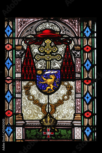 Tuinposter Imagination Coat of arms of Cardinal Joseph Mihalovic, stained glass in Zagreb cathedral