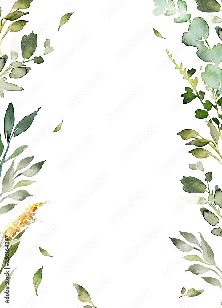 Fototapety, obrazy: Wedding invitation, greeting card, watercolor painting with plant elements on a white background in modern style.