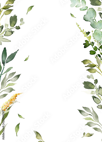 Wedding invitation, greeting card, watercolor painting with plant elements on a white background in modern style. Wall mural