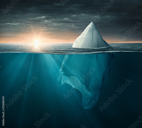 Plastic bag in the ocean looking like an iceberg, with copy space Canvas Print