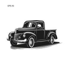 Old Retro Farmer Pickup Truck Vector Illustration Icon.