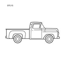 Old Retro Pickup Truck Vector Illustration. Vintage Transport Vehicle Line Art