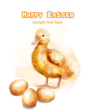 Easter Ducky Vector Watercolor Card. Happy Easter Greetings With Bud And Eggs