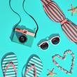 Beach Sunny coral Set. Fashion Summer Accessories, Film Camera, Stylish Swimsuit Bikini, Trendy Sunglasses. Hot beach Vibes. Sweet Bright summertime color. Creative Fun fashionable flat lay
