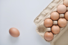 Chicken Eggs Are Arranged In A...