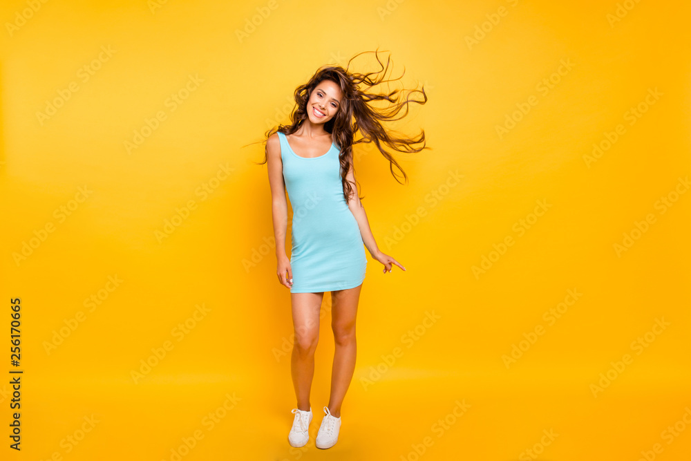 Fototapety, obrazy: Full length body size photo beautiful her she lady ideal shape fit tanned body posing hair flight wearing white shoes sneakers blue teal green everyday short dress clothes isolated yellow background