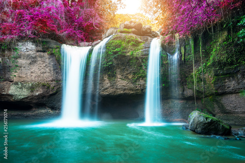 Amazing in nature, beautiful waterfall at colorful autumn forest in fall season  © totojang1977