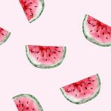 Wzór. Akwarela owoc arbuza. Ręcznie rysowane lato ilustracja. Projektowanie tkanin, opakowań, tekstyliów, okładek, pocztówek, papieru, papeterii, scrapbookingu, opakowania, odzieży, kart - 256171251